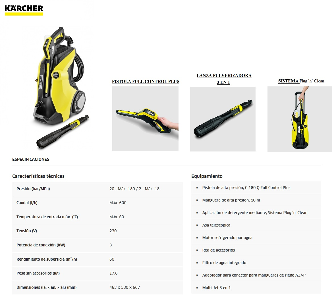 Karcher k7 full control plus comparativa